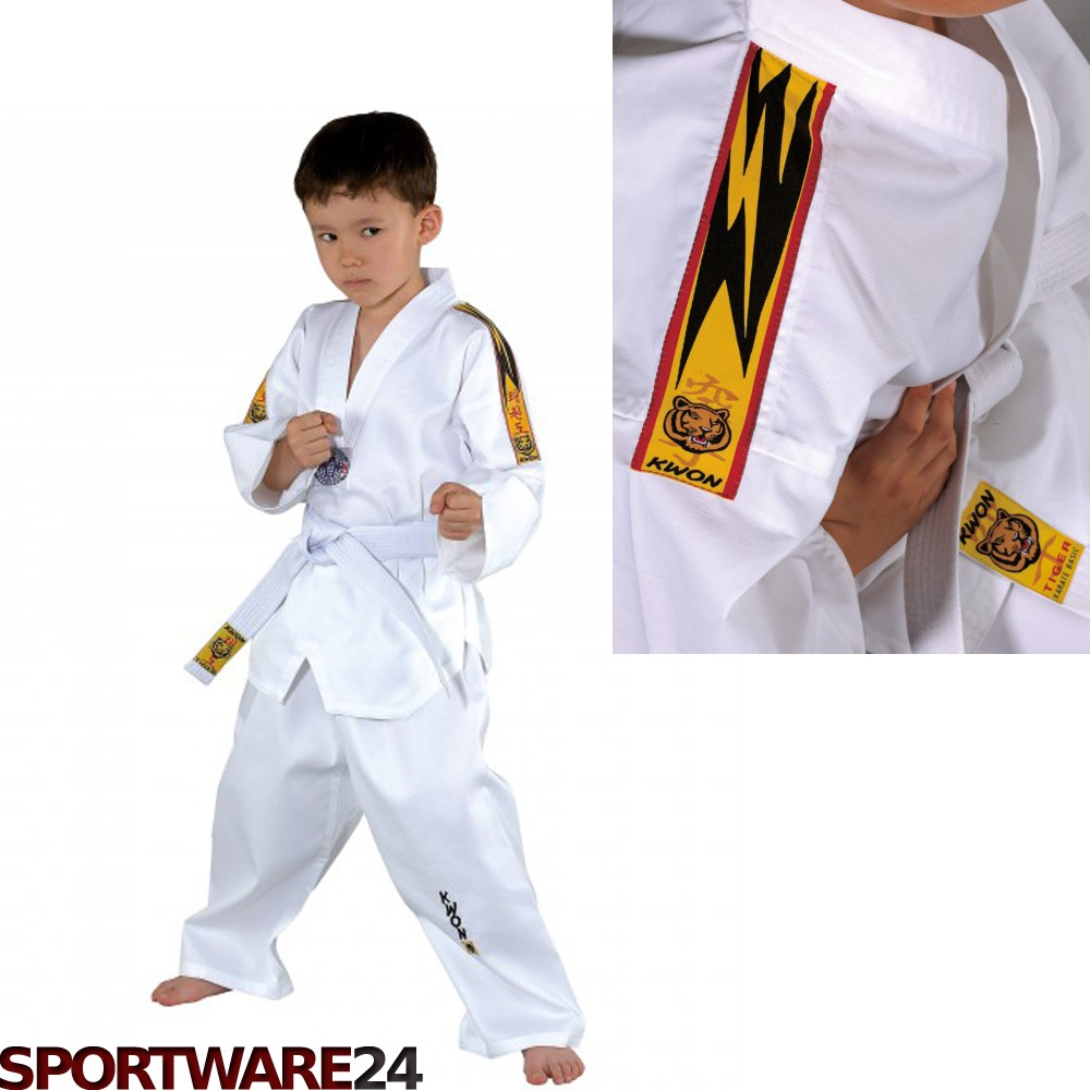 kwon clubline taekwondo anzug tiger wei 100 170 ebay. Black Bedroom Furniture Sets. Home Design Ideas